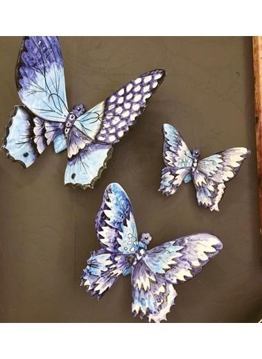 ROSSEV Porselen Mavi Dekoratif  Kelebek  3'Lü Renkli
